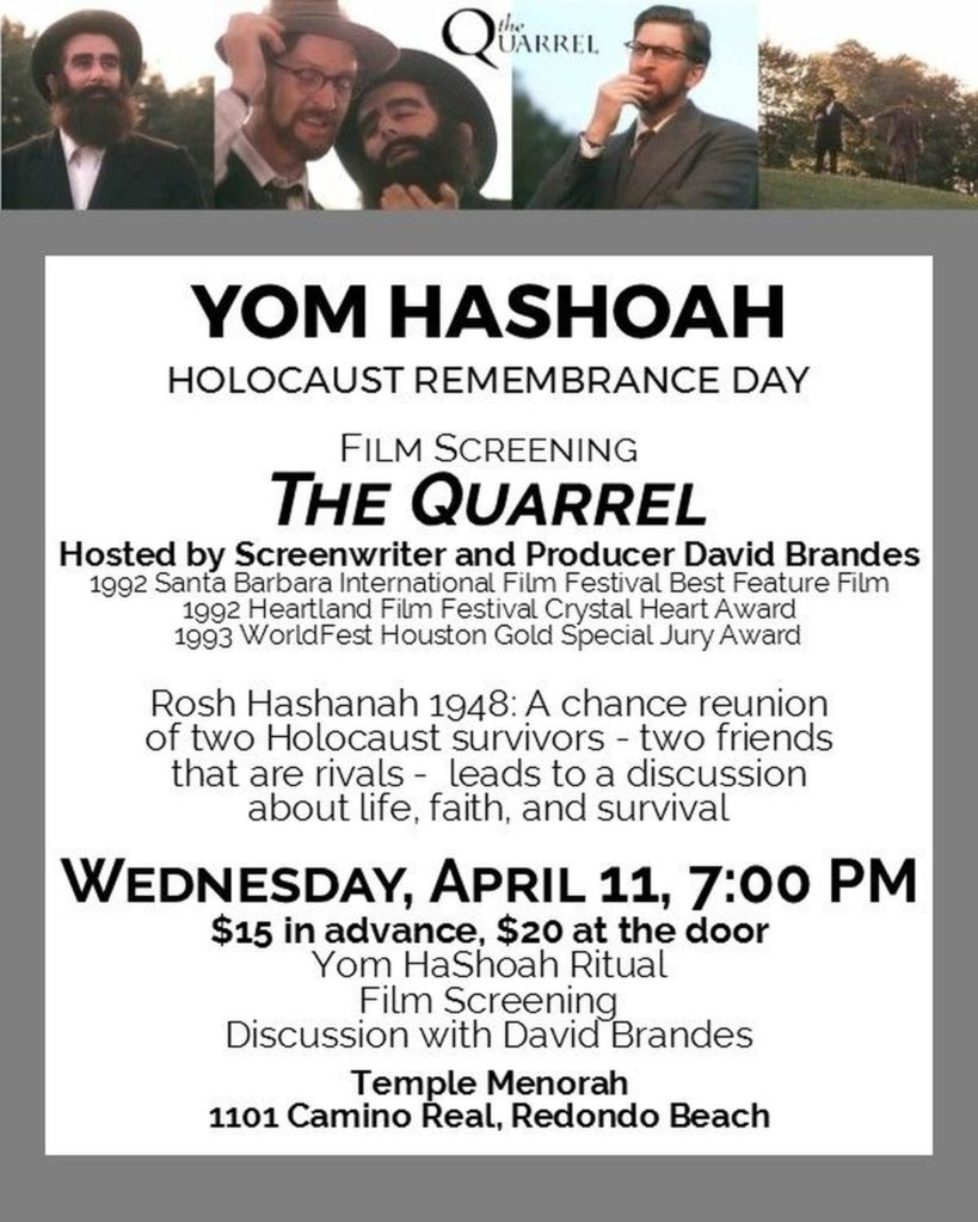 Adult Yom Hashoah Program at Temple Menorah