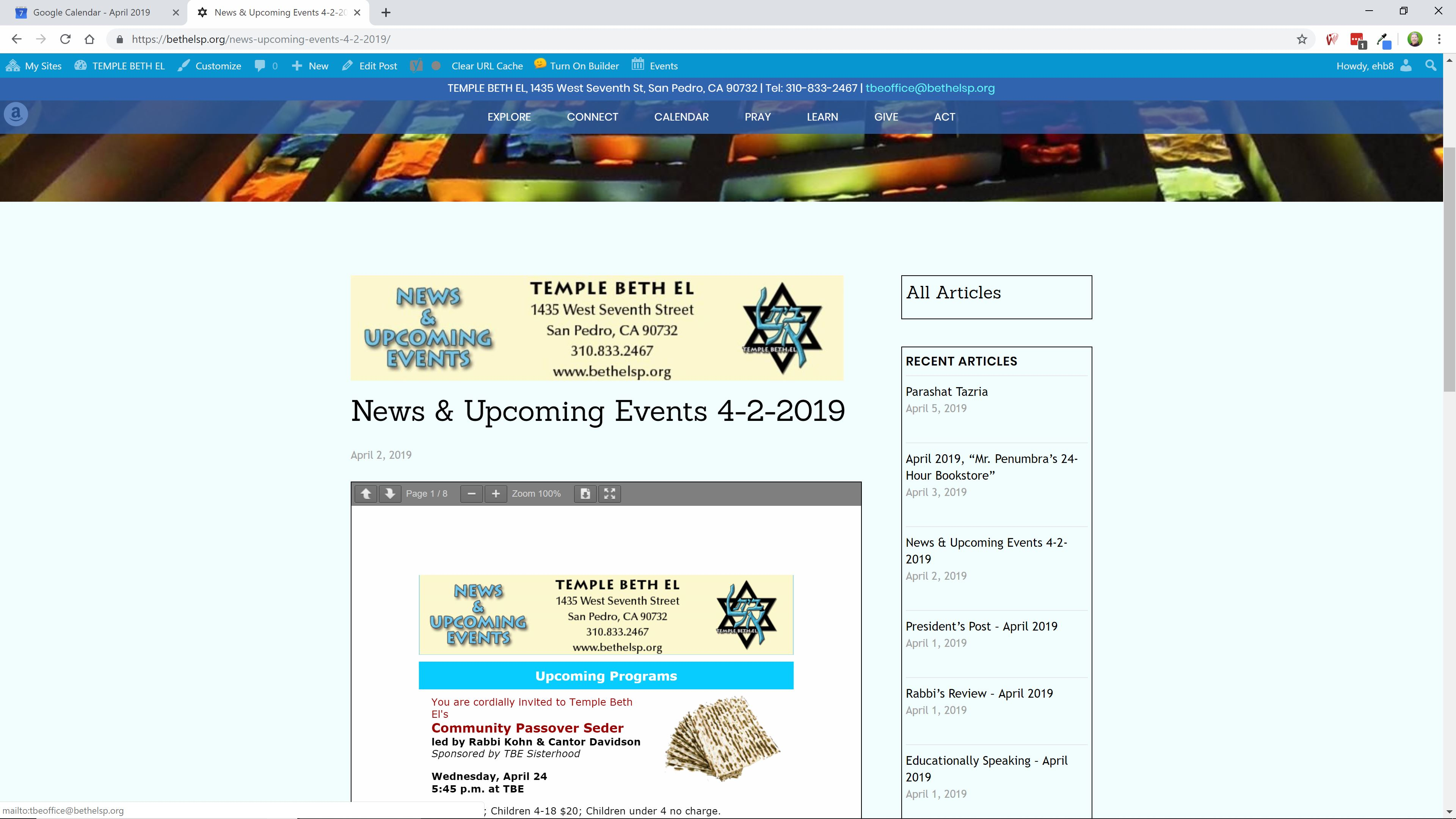New-Website-News Post #5 - TEMPLE BETH EL