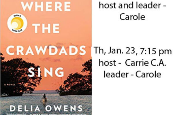 Book Club January 2020 – Where the Crawdads Sing, Delia Owens