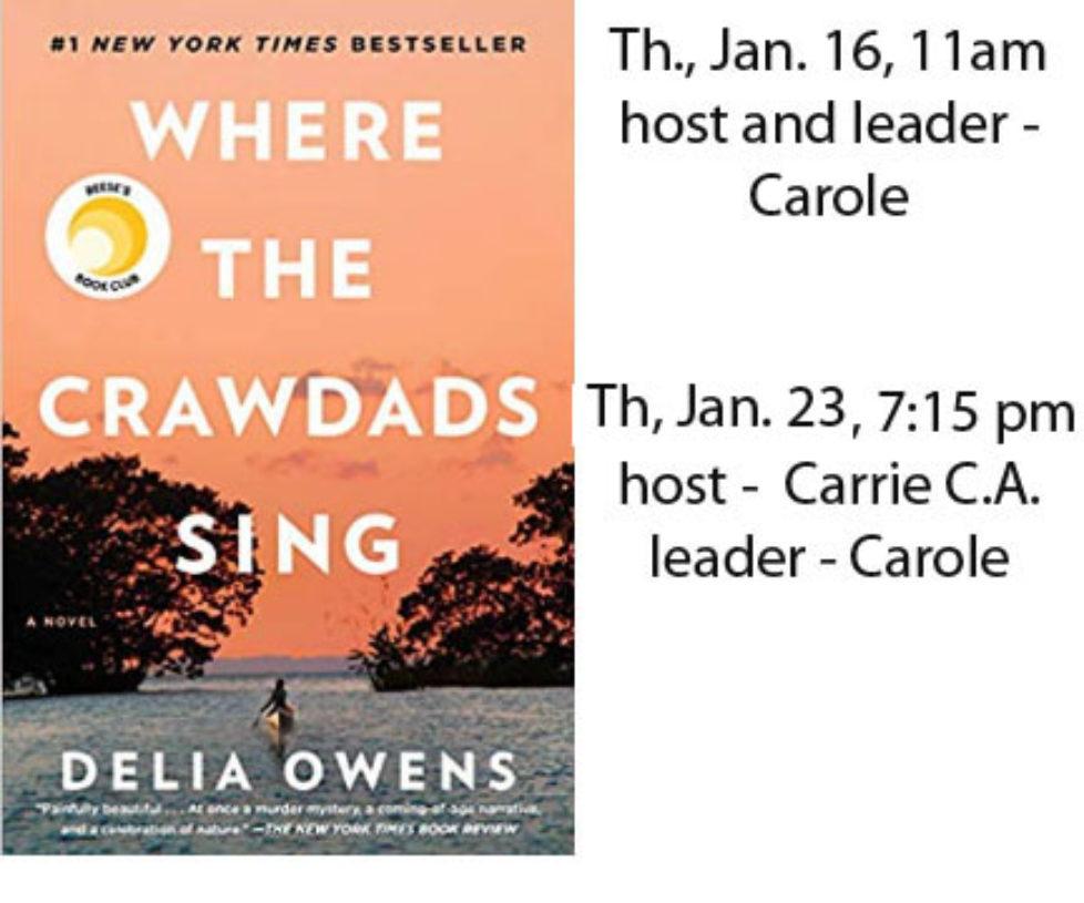 Book Club January 2020 - Where the Crawdads Sing, Delia Owens