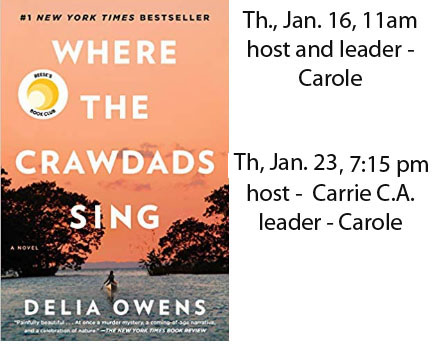 Book Club January 2020 - Where the Crawdads Sing, Delia Owens
